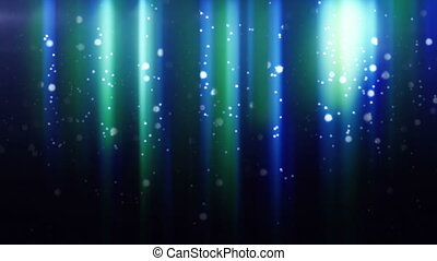 blue particles flying in light beam