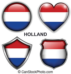 Holland icons - Holland flag icons, vector buttons.
