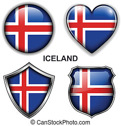 Iceland icons - Iceland flag icons, vector buttons.