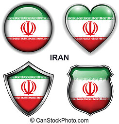 Iran icons - Iran flag icons, vector buttons.