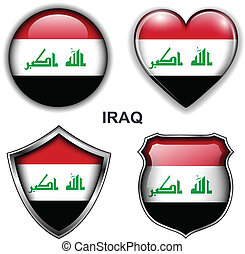 Iraq icons - Iraq flag icons, vector buttons
