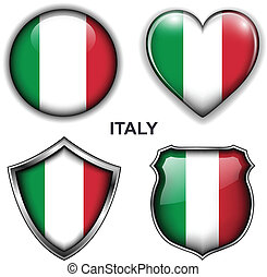 Italy icons - Italy flag icons, vector buttons