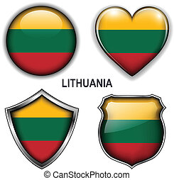Lithuania icons - Lithuania flag icons, vector buttons.