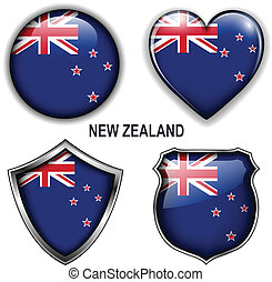 New Zealand icons - New Zealand flag icons, vector buttons....