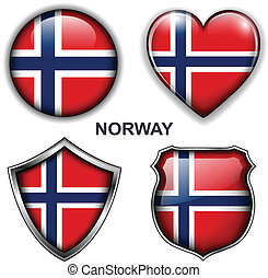 Norway icons - Norway flag icons, vector buttons.