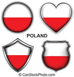 Poland icons - Poland flag icons, vector buttons