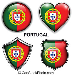 Portugal icons - Portugal flag icons, vector buttons.