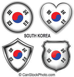 South Korea icons - South Korea flag icons, vector buttons...