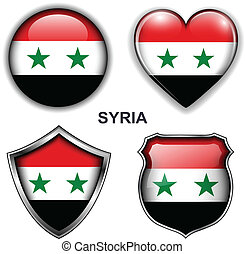 Syria icons - Syria flag icons, vector buttons.