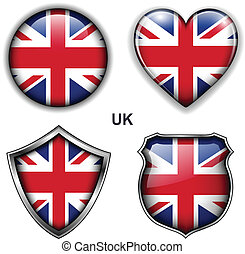 UK icons - United Kingdom; UK flag icons, vector buttons.