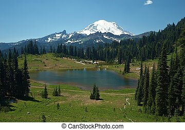 Snowcapped Mount Rainier National Park, Oregon, United...