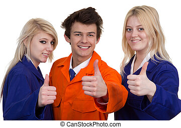 Man And Women Wearing Protective Work Wear Showing Thumb Up