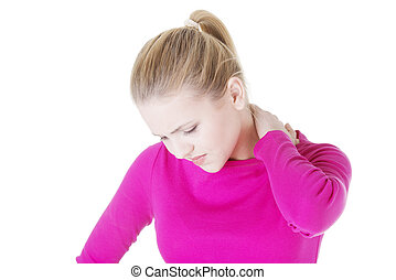 oung woman holding hand on her neck Neck pain concept