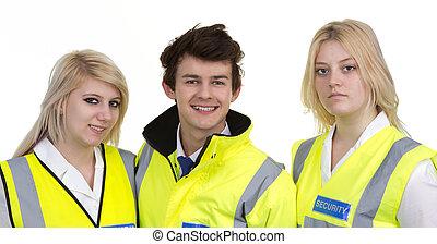 il portare, giacca,  high-visibility, donna, uomo