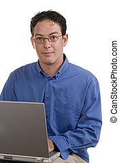 Man with computer laptop