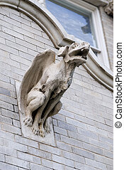 gargoyle - old train station wtih spooky gargoyle on the...