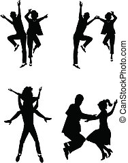 dancing the night away - fifties retro dancers in silhouette...