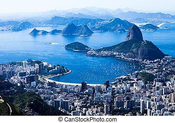 Rio de Janeiro, Brazil Suggar Loaf and Botafogo beach viewed...