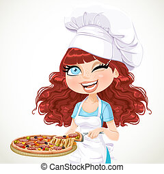 Cute girl offers taste of pizza - Cute curly hair girl chef...
