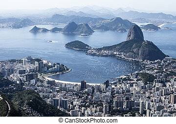 Rio de Janeiro, Brazil. Suggar Loaf and Botafogo beach...