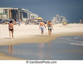Beach Visitors - wide shot of summer beach at Gulf of Mexico