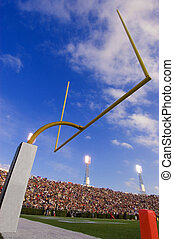 Football Goal Post - Artistic shot of goal post in a...