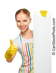 happy housewife with thumbs up with white empty billboard...