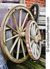 Big and small wagon wheels - HDR