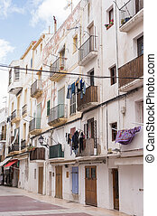 Ibiza town white facades of mediterranean village in Balearic