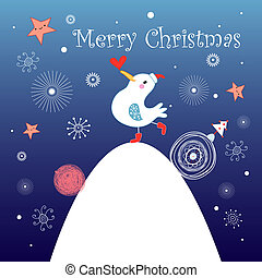 Christmas greeting card with bird - bright cheerful greeting...