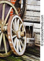 Vintage wagon wheels - HDR - Vintage wagon wheels and old...