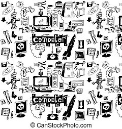 doodle spy equipment background - Concept Hand Drawn Laptop...