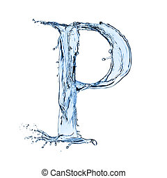 "Water splashes letter ""P"" isolated on black background"