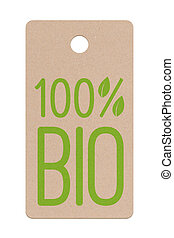 Bio label 1 - Isolated Cardboard bio label for natural...