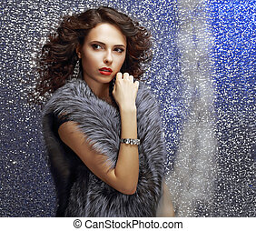 Luxurious Female with Curly Hair and Jewelry. Glamor