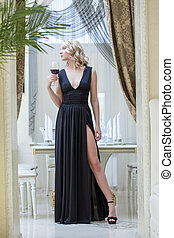 女, 若い, 長い間, 黒, ポーズを取る, 服,  sensual