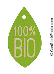 Bio label 2 - Isolated Cardboard bio label for natural...
