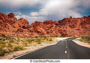 The road to The Valley of Fire, Nevada, USA