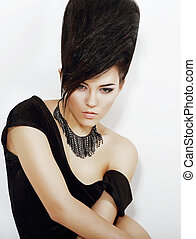 Sentiment. Pensive Bright Woman with Black Updo Hair and...
