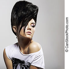 Updo Black Hair. Stylish Woman with Trendy Hairstyle with...