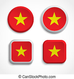 Vietnam flag buttons, vector illustration