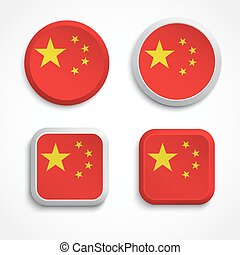 China flag buttons