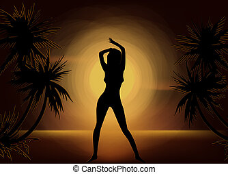 Girl Silhouette On Sunset Beach Background. Vector - girl...