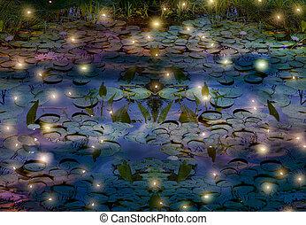 fireflies, agua, Lirio, charca, noche