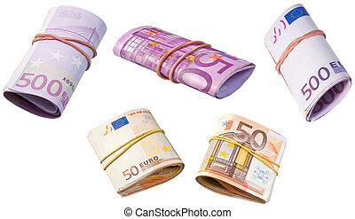 euro banknotes - rolled into tube euro banknotes isolated on...