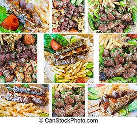 lamb kebab - plate with arabic lamb kebab in Jordanian...
