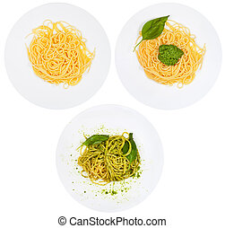 top view on spaghetti with pesto