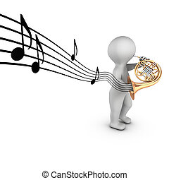 A 3D character playing french horn corniste with notes on a...