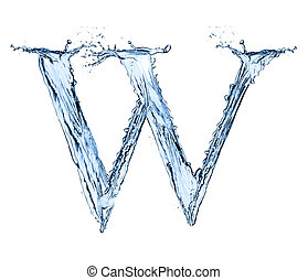 "Water splashes letter ""W"" isolated on black background"
