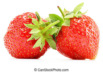 Composition with fresh strawberries isolated on white